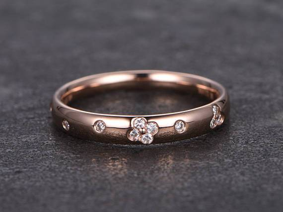 Designer .25 Carat Round cut Diamond Wedding Ring Band for Her in Rose Gold