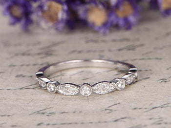 Bestselling .25 Carat Round cut Diamond Wedding Ring Band semi eternity art deco in White Gold