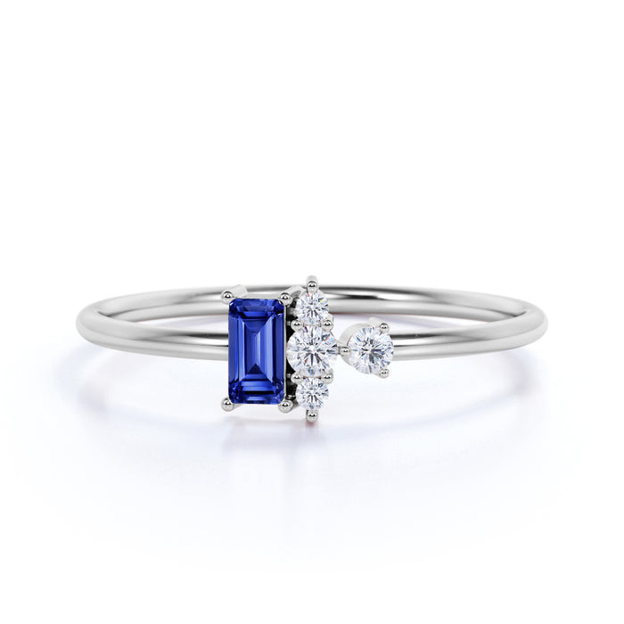 Petite 0.64 Carat Emerald Shape Cornflower Blue Sapphire and Diamond Vintage Engagement Ring in White Gold