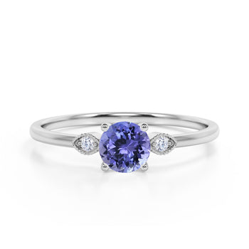 Limited Time Sale 1.35 Carat Round Shape Lavender Tanzanite and 3 Stone Diamond Vintage Engagement Ring in White Gold