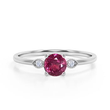 Limited Time Sale 1.35 Carat Round Strawberry Pink Tourmaline and 3 Stone Diamond Vintage Engagement Ring in White Gold