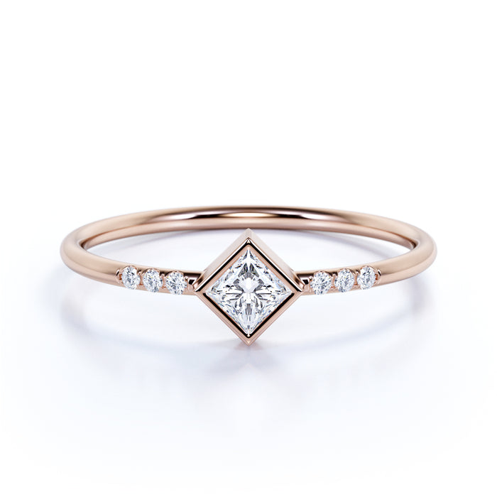 7 Stone Simple Princess Cut Authentic Diamond And Dainty Promise Ring Shygems Com