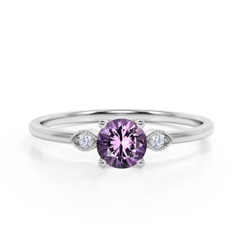 Limited Time Sale 1.35 Carat Round Shape Amethyst and 3 Stone Diamond Vintage Engagement Ring in White Gold