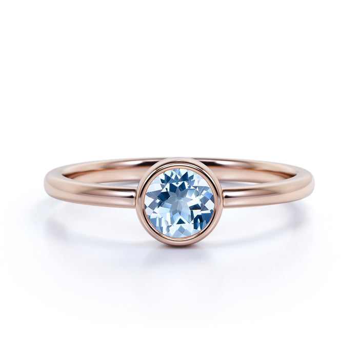 Vintage Bezel 1.50 Carat Round Shape Aquamarine and Solitaire Engagement Ring in Rose Gold