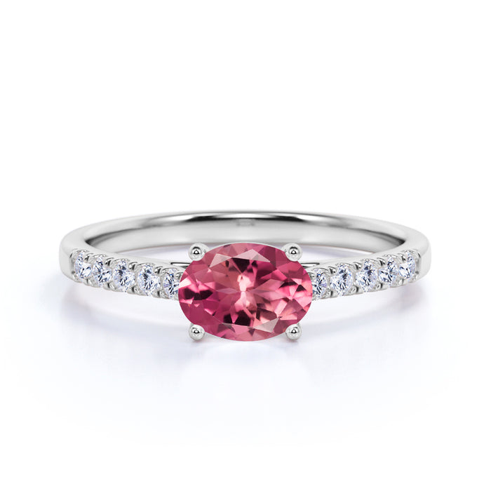 Surface Prong 1.50 Carat Egg Shaped Rubellite Tourmaline and Diamond Parallel Engagement Ring in White Gold