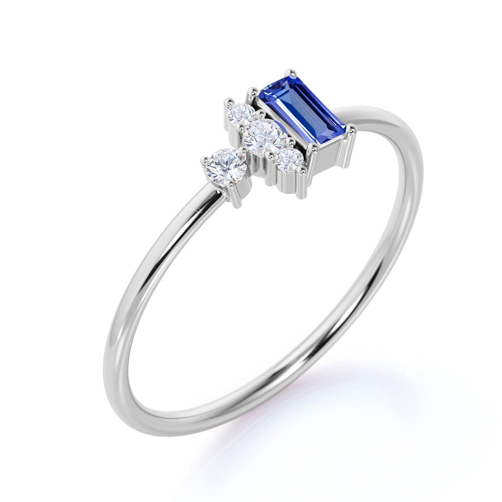 Petite 0.64 Carat Emerald Shape Purple Tanzanite and Diamond Vintage Engagement Ring in White Gold
