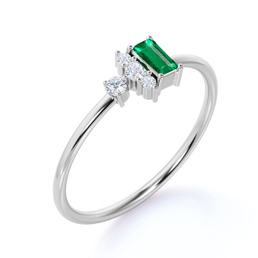 Petite 0.64 Carat Emerald Shape Emerald and Diamond Vintage Engagement Ring in White Gold