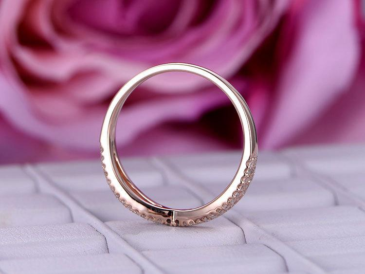 Semi eternity .50 Carat Round cut Diamond Wedding Ring Band in Rose gold