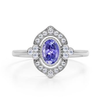 Huge 2 Carat Oval Shaped Blue Violet Tanzanite and Diamond Antique Engagement Ring in White Gold