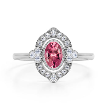 Huge 2 Carat Oval Shaped Orange Pink Tourmaline and Diamond Antique Engagement Ring in White Gold