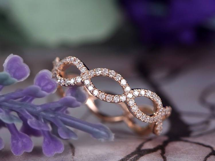 Beautiful everlasting .50 Carat Round cut Diamond Wedding Ring Band in Rose Gold for Her