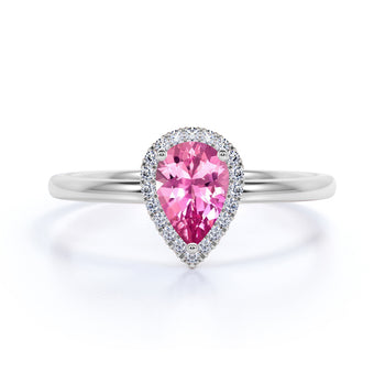Elegant 2.25 Carat Pear Lavender Pink Tourmaline and Diamond Pave Engagement Ring in White Gold