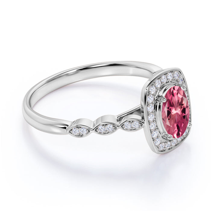 Large 2 Carat Elliptical Shape Hot Pink Tourmaline and Diamond Art Deco Engagement Ring in White Gold
