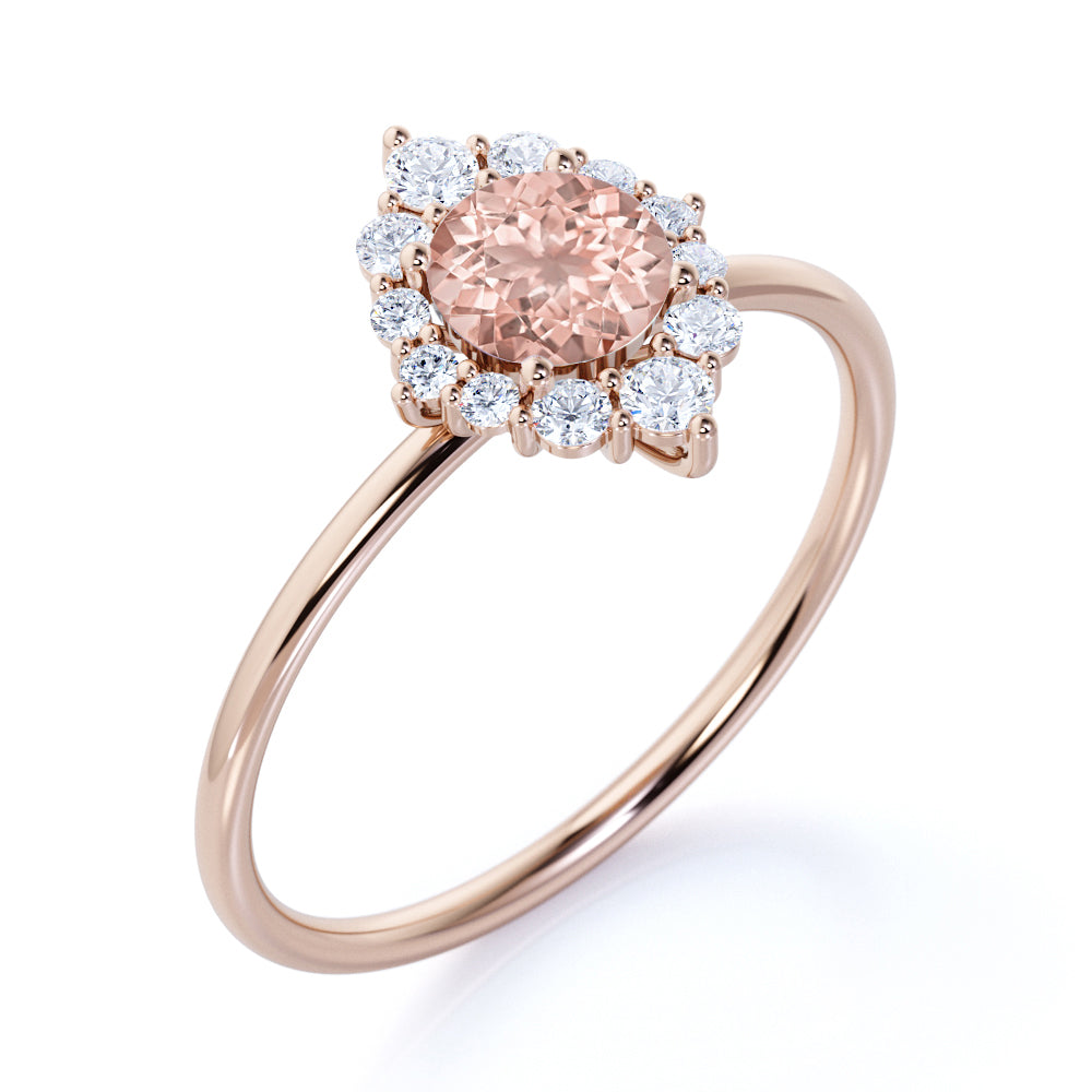 Elegant 0.75 Carat Round Pink Brown Morganite and Diamond Halo Dainty Engagement Ring in Rose Gold