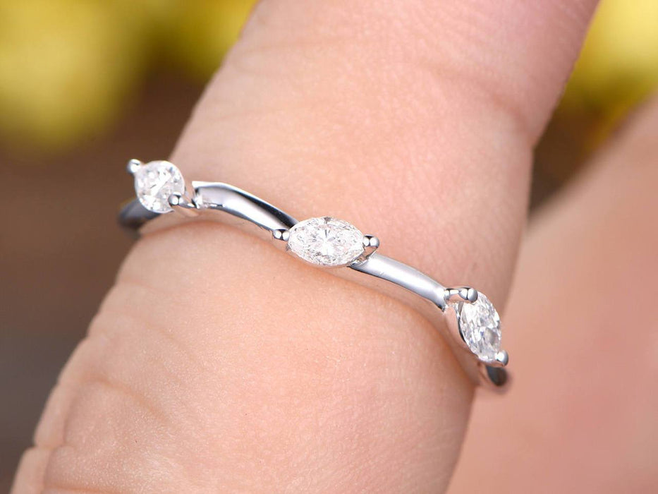 .25 Carat marquise Diamond Wedding Leaf Design Ring Band in White Gold