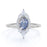 Petite 0.80 Carat Oval Shape Blue Moonstone and Diamond Cluster Engagement Ring in White Gold