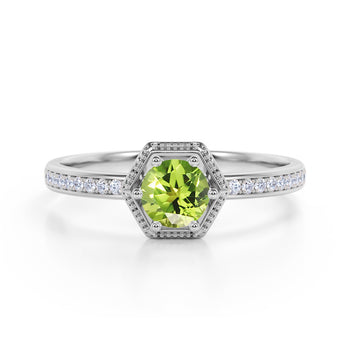 Unique Channel Set 1.75 Carat Round Peridot and Diamond 6 Prong Engagement Ring in White Gold