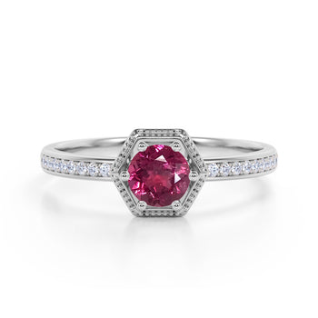 Unique Channel Set 1.75 Carat Round Dark Red Tourmaline and Diamond 6 Prong Engagement Ring in White Gold