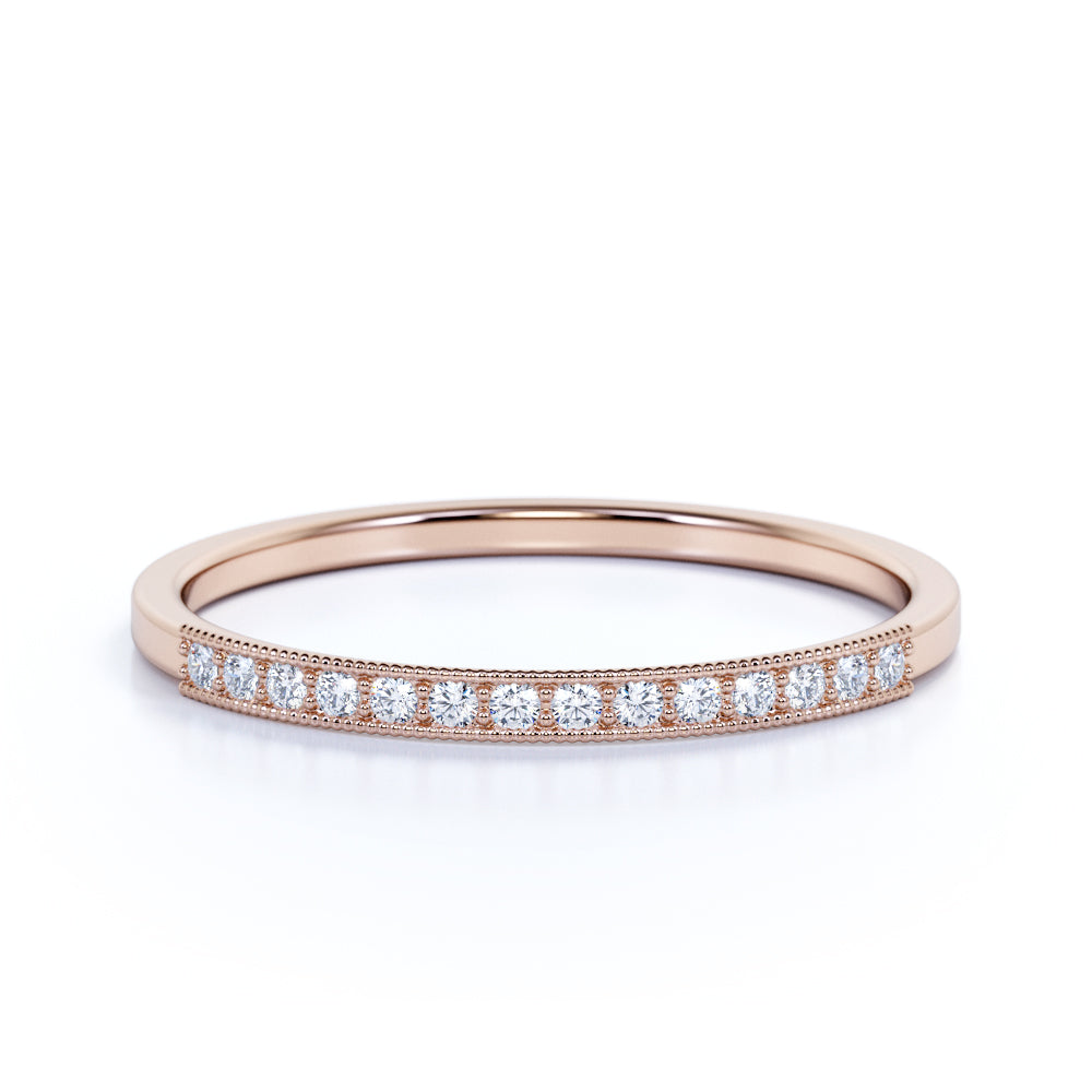 Vintage Half Eternity Round Shaped Authentic Diamond and Dainty Stackable Wedding Band in Rose Gold