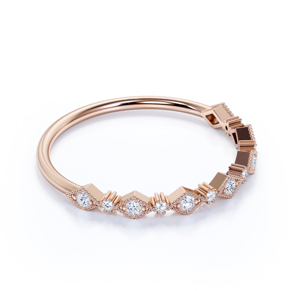 Classic Art Deco Round Shape Authentic Diamond Stackable Ring in Rose Gold