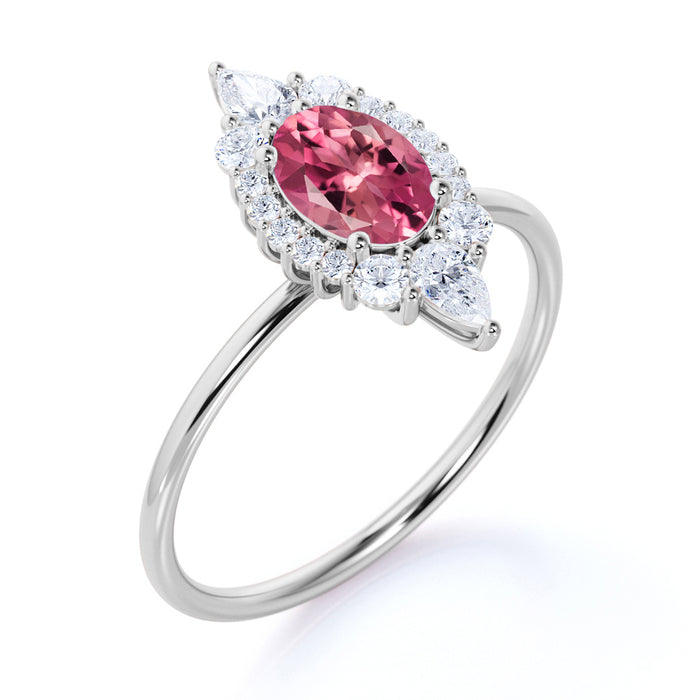 Petite 0.80 Carat Oval Shape Pink Tourmaline and Diamond Cluster Engagement Ring in White Gold