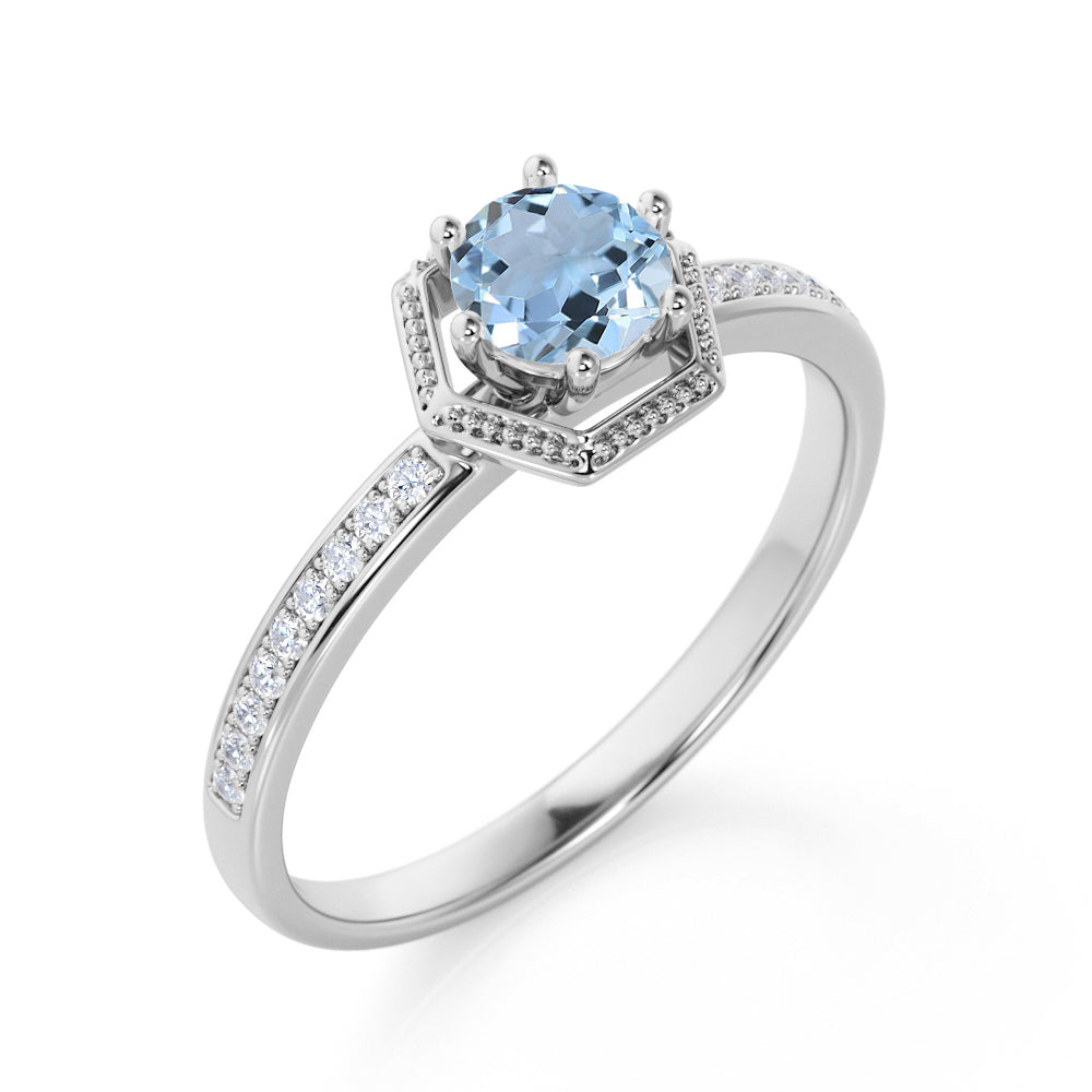 Unique Channel Set 1.75 Carat Round Aquamarine and Diamond 6 Prong Engagement Ring in White Gold