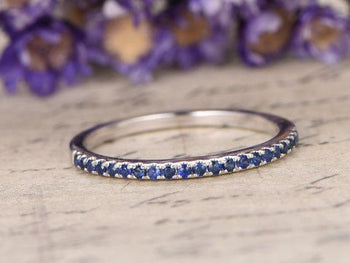.25 Carat Round cut Sapphire Wedding Ring Band in White Gold