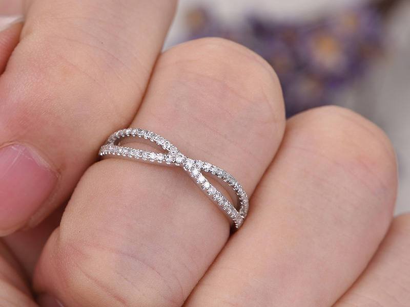 .50 Carat infinity Round cut Diamond Wedding Ring Band in White Gold