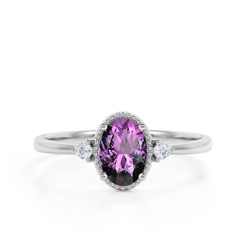 Modern 3 Stone 1.60 Carat Oval Cut Amethyst and Diamond Best Beaded Engagement Ring in White Gold
