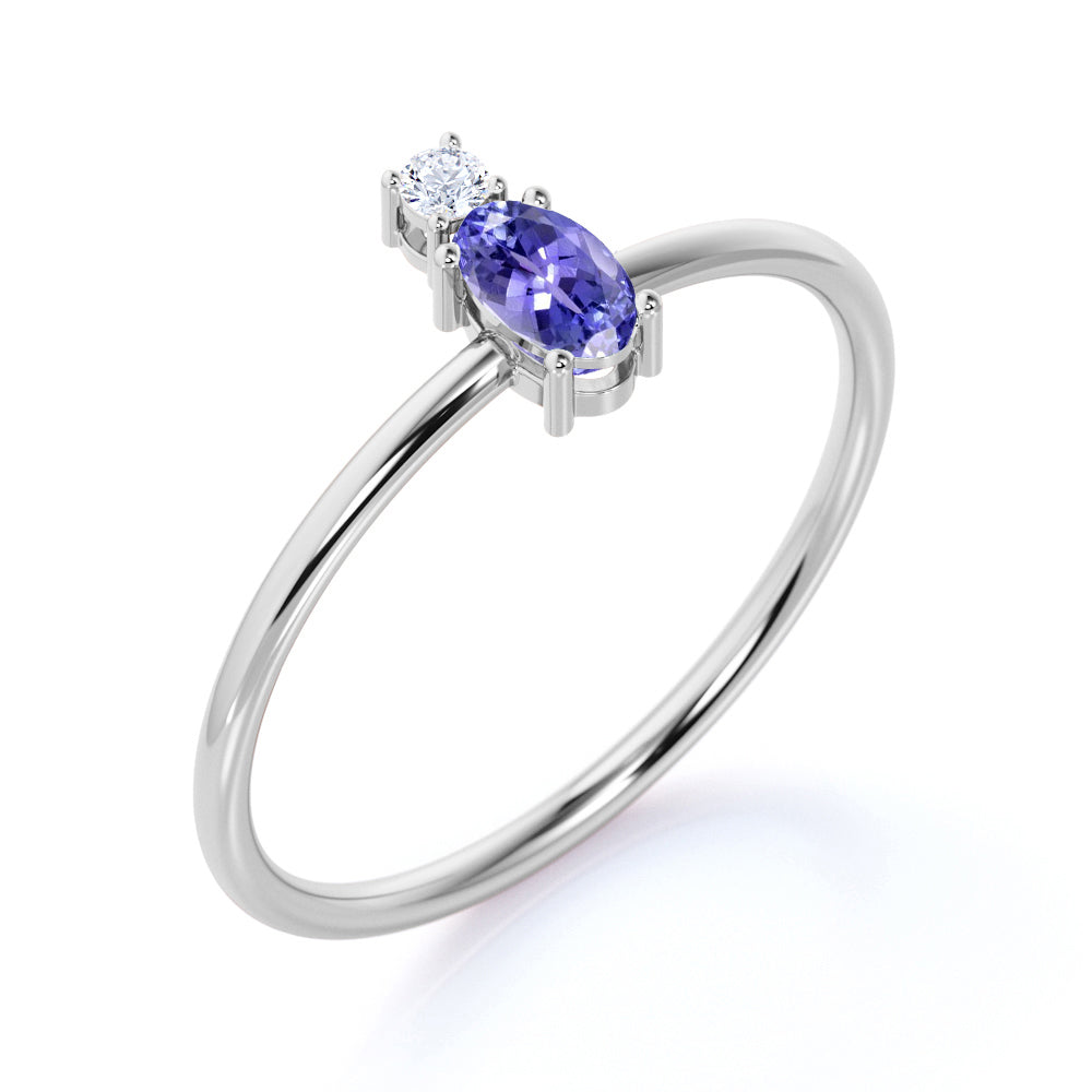 Minimalist Oval Cut Peacock Tanzanite and 2 Stone Diamond Engagement Ring in White Gold