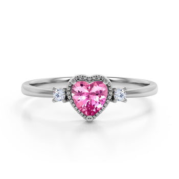 Lovely Valentines 1.85 Carat Heart Red Rubellite Tourmaline and 3 Stone Diamond Classic Engagement Ring in White Gold