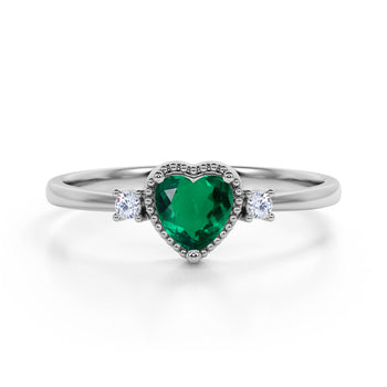 Lovely Valentines 1.35 Carat Heart Shaped Emerald and 3 Stone Diamond Classic Engagement Ring in White Gold