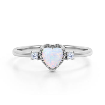 Lovely Valentines 1.85 Carat Heart Shaped White Opal and 3 Stone Diamond Classic Engagement Ring in White Gold