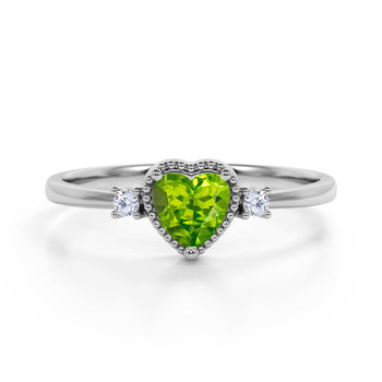 Lovely Valentines 1.85 Carat Heart Shaped Peridot and 3 Stone Diamond Classic Engagement Ring in White Gold