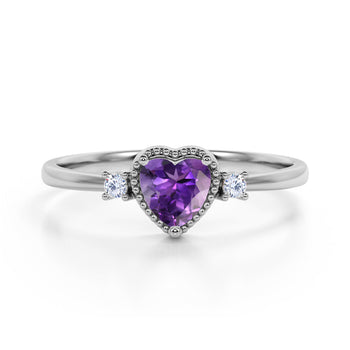 Lovely Valentines 1.85 Carat Heart Shaped Amethyst and 3 Stone Diamond Classic Engagement Ring in White Gold
