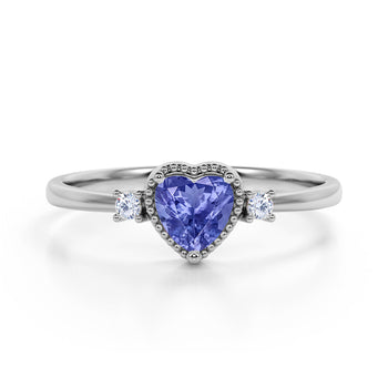 Lovely Valentines 1.85 Carat Heart Shaped Blueberry Tanzanite and 3 Stone Diamond Classic Engagement Ring in White Gold