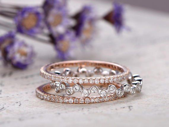Perfect set of 3 Trio Wedding Ring Bands with 1 Carat diamond in Rose and White Gold