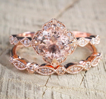 Limited Time Sale 2 carat Round Cut Morganite and Diamond Halo Bridal Wedding Ring Set in 10k Rose Gold