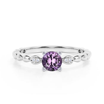 Beaded 1.10 Carat Round Brilliant Amethyst and Diamond Classic Engagement Ring in White Gold