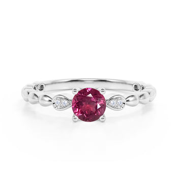 Beaded 1.10 Carat Round Brilliant Red Tourmaline and Diamond Classic Engagement Ring in White Gold