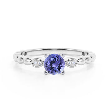 Beaded 1.10 Carat Round Brilliant Lavender Tanzanite and Diamond Classic Engagement Ring in White Gold