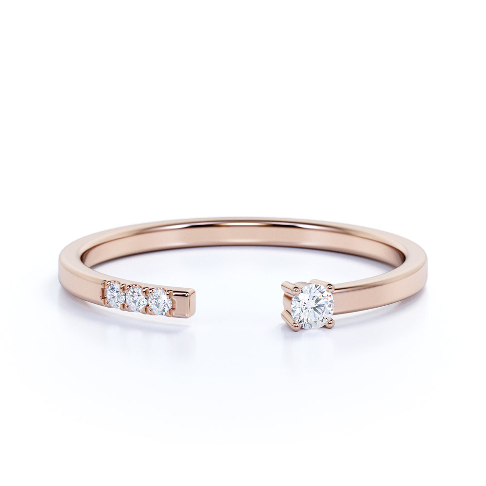 Pave Setting Round Brilliant Cut Authentic Diamond Stacked Ring in Rose Gold