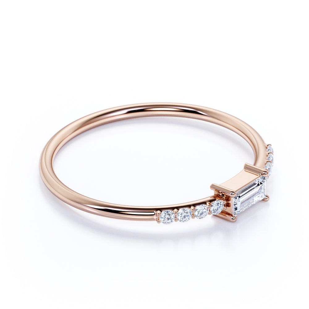 Gorgeous Baguette Cut Authentic Diamond Dainty Stacking Ring in Rose Gold