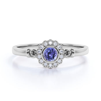Unique Flower 1 Carat Round Lavender Tanzanite and Diamond Halo Engagement Ring in White Gold
