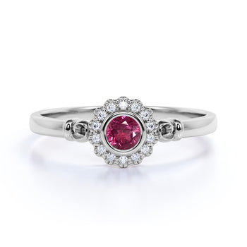 Unique Flower 1 Carat Round Strawberry Pink Tourmaline and Diamond Halo Engagement Ring in White Gold
