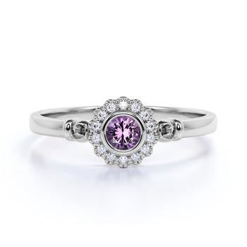 Unique Flower 1 Carat Round Purple Pink Amethyst and Diamond Halo Engagement Ring in White Gold