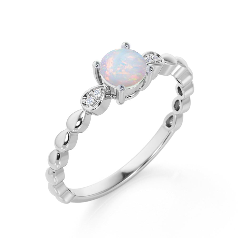 Beaded 1.10 Carat Round Brilliant Fire Opal and Diamond Classic Engagement Ring in White Gold