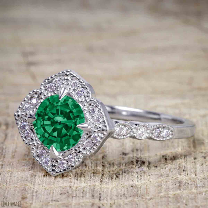 Antique Vintage 1.25 Carat Artdeco Halo Engagement Ring with Emerald and Diamond for Her in White Gold