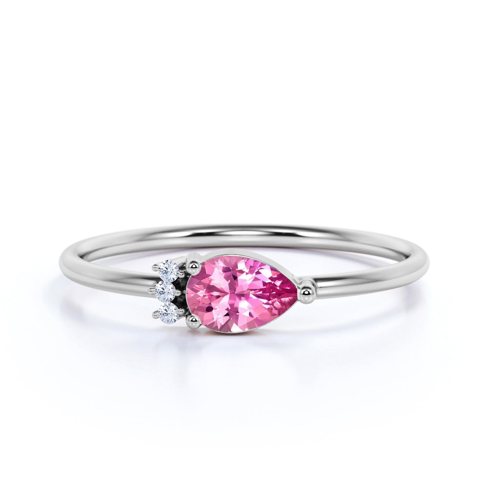 Vintage Style 0.60 Carat Pear Cut Natural Pink Tourmaline and Diamond Crown Petite Engagement Ring in White Gold
