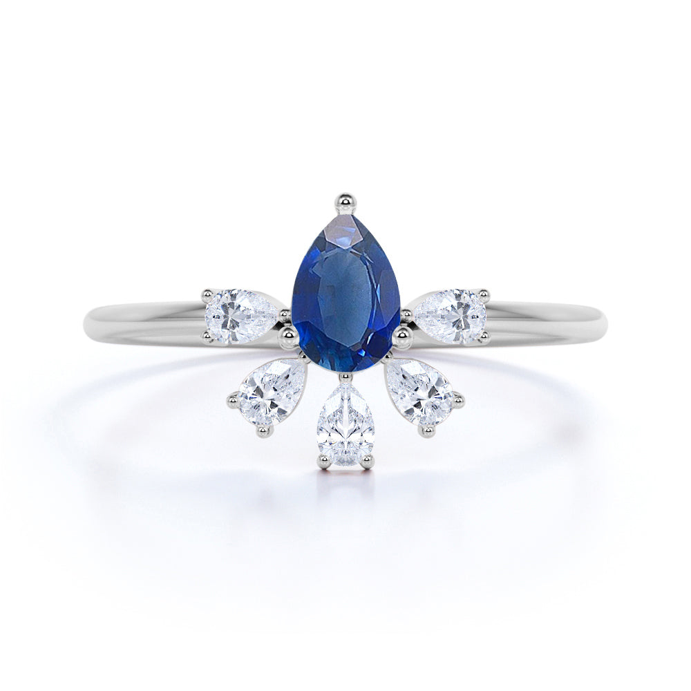Vintage Style 0.60 Carat Pear Cut Natural Blue Sapphire and Diamond Crown Petite Engagement Ring in White Gold